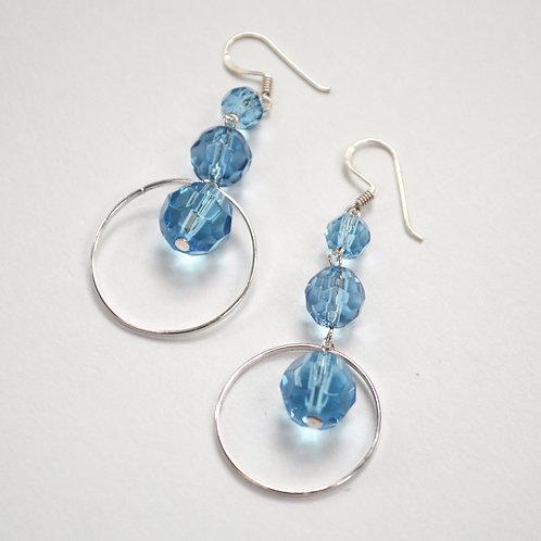 Crystal Stones Sterling Silver Earrings 534082-1