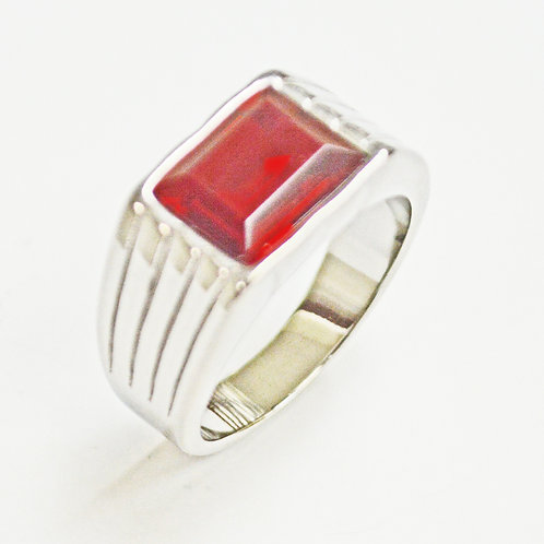 Red Stone Ring Stainless Steel (10x14mm) 81-1237S-Red