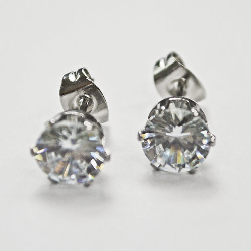 7mm Round CZ Earrings-10 Pairs