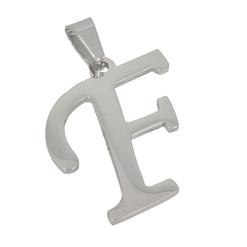 F Initial Pendant Stainless Steel