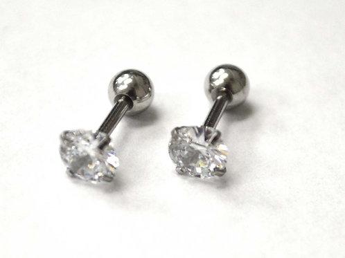 Screw Back CZ Stud Earrings (5mm)83-818-1