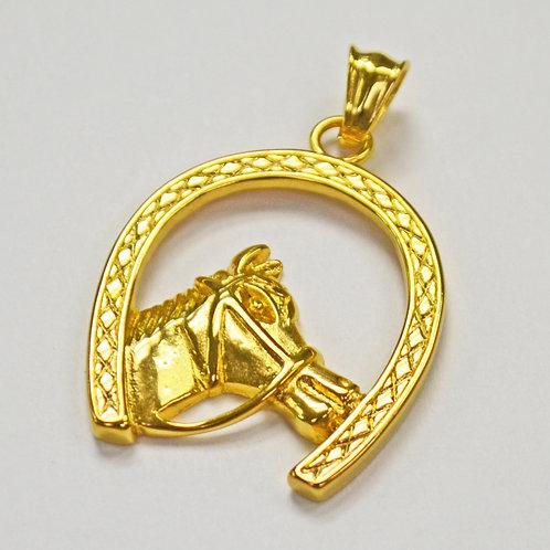 Horseshoe Horse Gold IP Plate Pendant