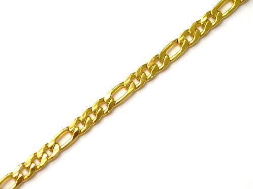 5mm Figaro Gold IP Plated Bracelet 84-110G-5