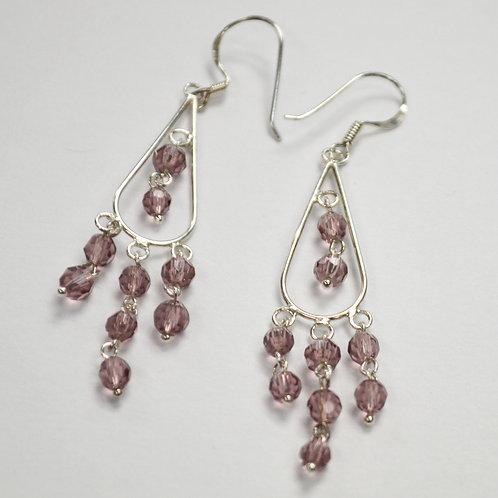 Crystal Stones Sterling Silver Earrings 534084