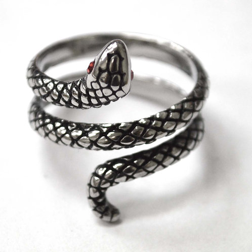 Snake Stainless Steel Ring 81-1339S-1-Red