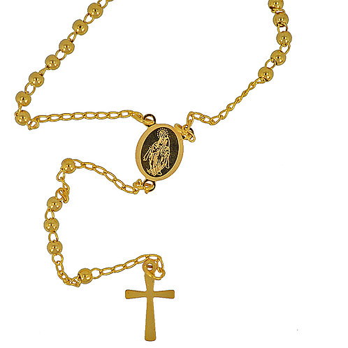 3MM GOLD IP PLATED ROSARY 87-24G