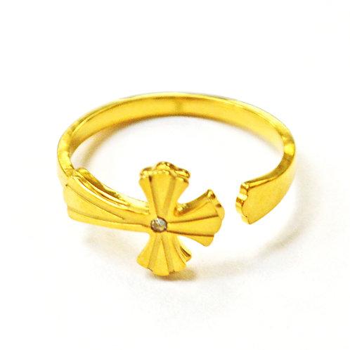 CROSS GOLD IP PLATE RING ((9x14mm) 81-1334G