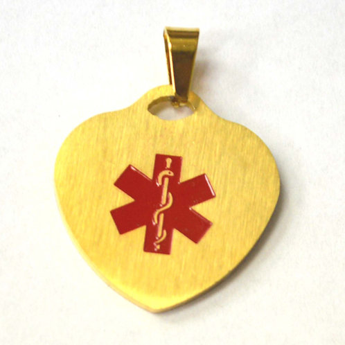 Heart Medical Tag Gold Plated Pendant 86-2404G
