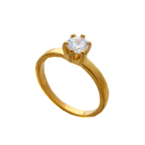 CZ GOLD IP PLATE RING (5mm) 81-1028G-5