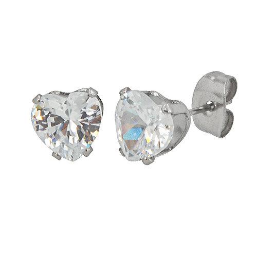 7x7 Heart  CZ Earrings