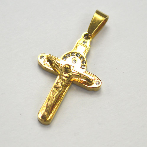 Crucifix Cross Gold IP Plated Pendant 86-2236G