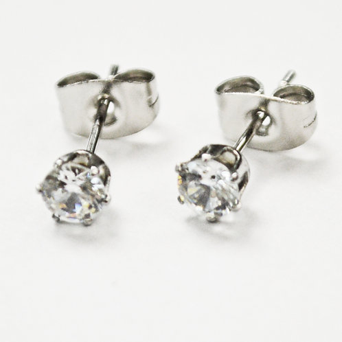4mm Round CZ Earrings-10 Prs