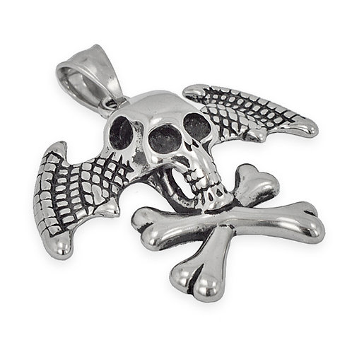 SKULL CROSSBONE WITH WING Pendant(39x35mm)