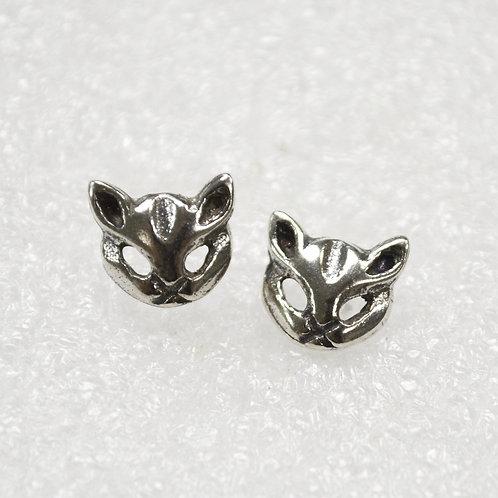Cat Face Stud Earring Sterling Silver 535209