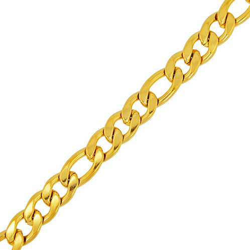7MM GOLD IP PLATED FIGARO BRACELETS