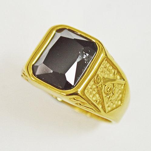 BLACK STONE GOLD RING 81-1236G-Blk