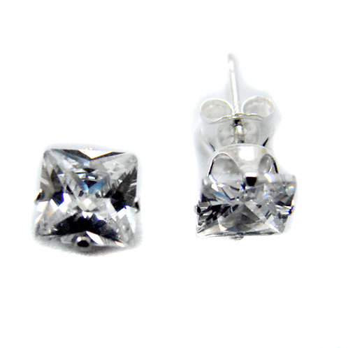7mm SQUARE CZ Stud Earring