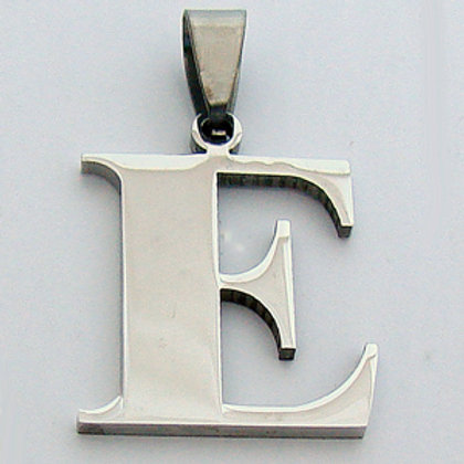E Initial Pendant Stainless Steel (18x22mm)