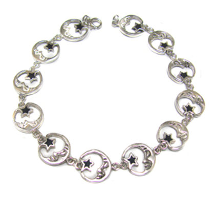 Moon and Star Sterling Silver Bracelet 542048
