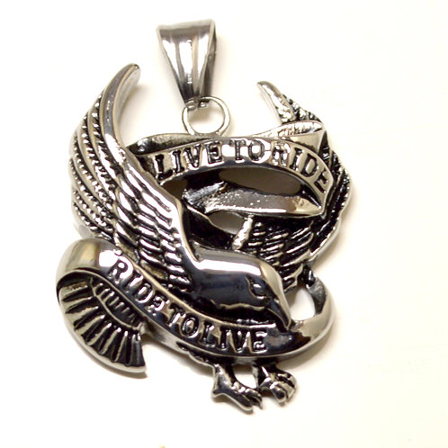 Live to Ride Ride to Live Eagle Pendant (31x38mm)