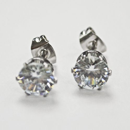 6mm Round CZ Earrings-10 Pairs