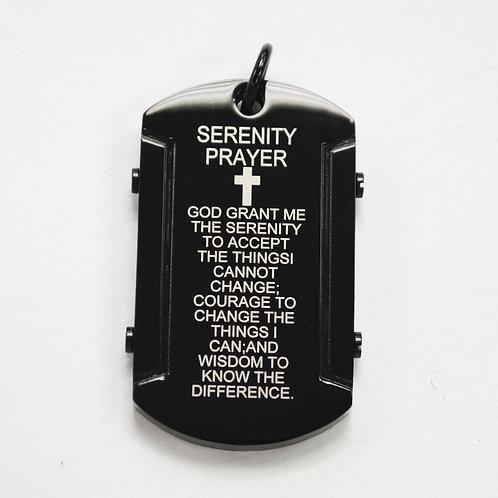 Serenity Prayer Tag Black Plated Pendant 86-2176B