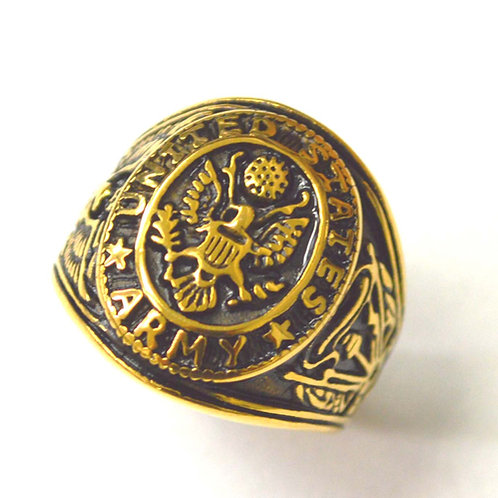 US Army Gold IP Plated Ring 81-1465G