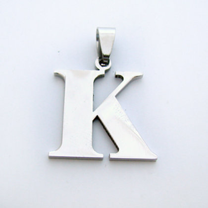 K Initial Pendant Stainless Steel (18x22mm)