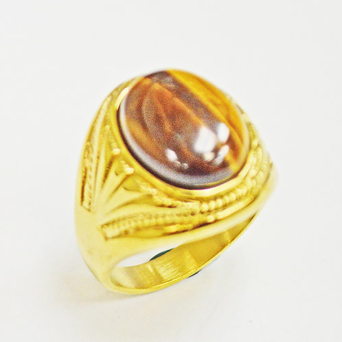 TIGER EYE STONE GOLD PLATED RING (17x22mm) 81-1230G-TE