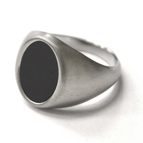 Black Stone Stainless Steel Ring 81-1476S