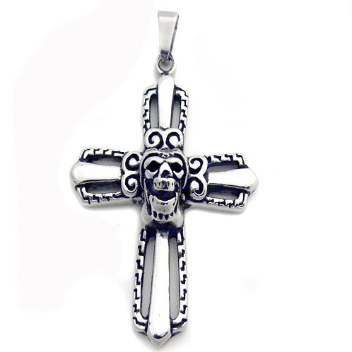 Cross with Skull Head Pendant (40x55mm)