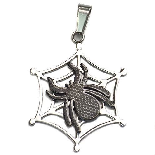 Two Tone Black Spider Web Weave Pendant Stainless Steel (42mm)
