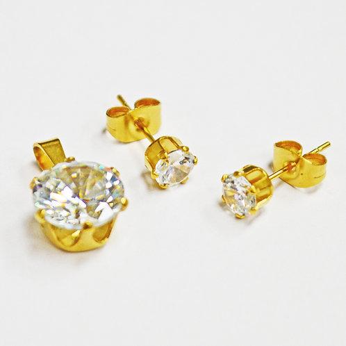 CZ Earrings and Pendant Set  83-627G