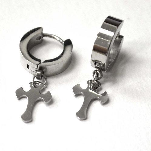 Dangling Cross Huggies Earrings 83-626S-8