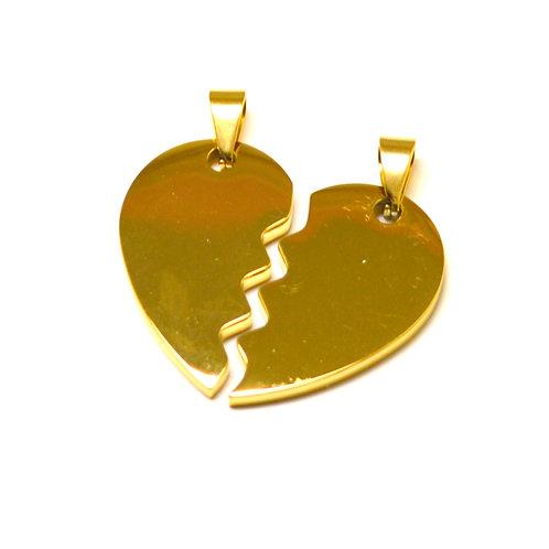 Breakable Heart Gold IP Plate PENDANT (33x33mm)