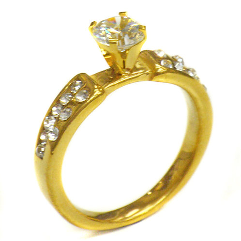 CZ Gold Plated Ring (6mm) 81-858