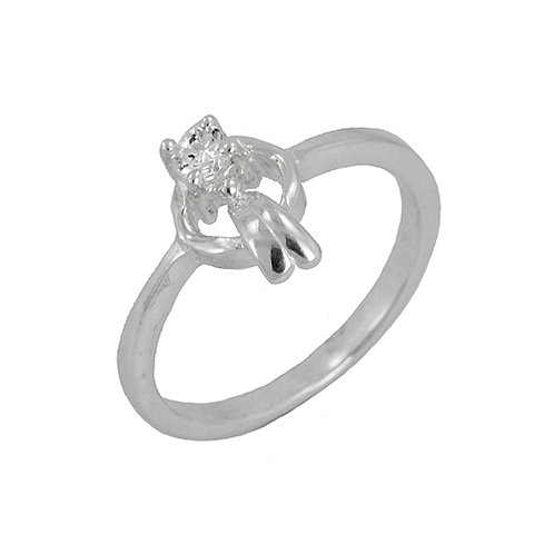 CZ Stone Ring Sterling Silver 512075