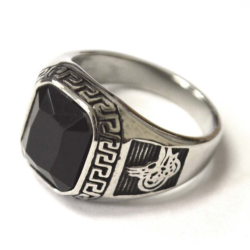 Black Stone Stainless Steel Ring 81-1468S