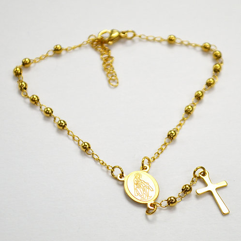 3mm Gold IP Plated Rosary Bracelet 87-23G