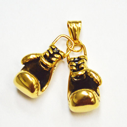 Boxing Glove Gold IP Plate Pendant 86-2219G