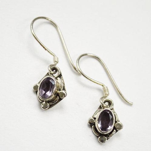 Amethyst Stone Dangling Earring Sterling Silver 534062-1