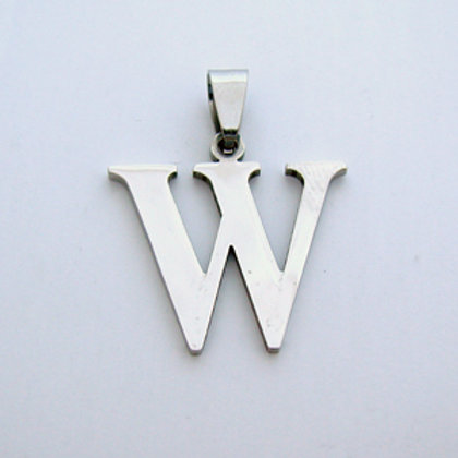W Initial Pendant Stainless Steel (18x22mm)