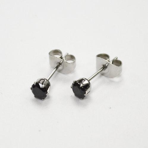 4mm Round Black CZ Stud Earring