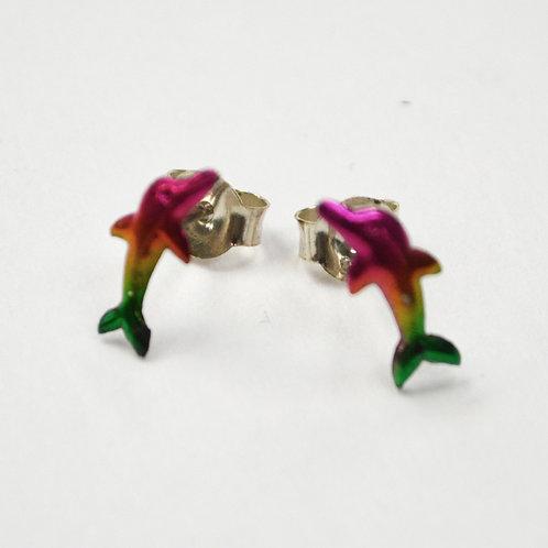 Dolphin Stud Sterling Silver Earrings 535253