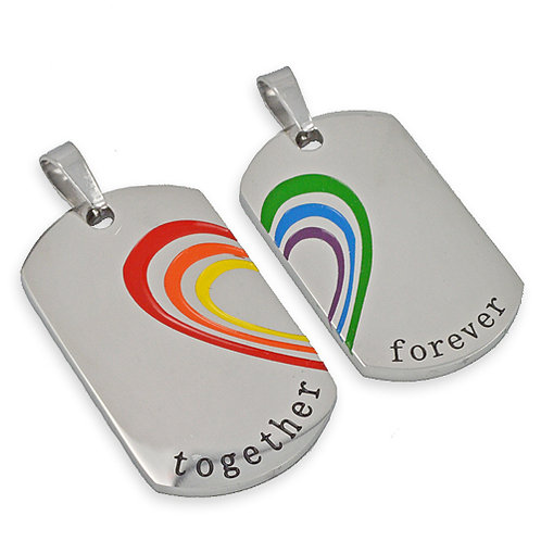 Together Forever Couple Dog Tag Stainless Steel 86-1711