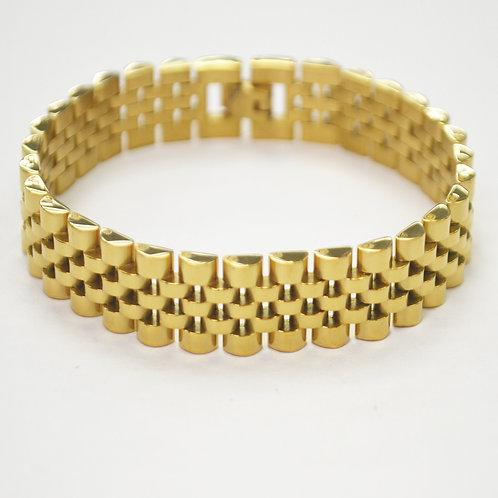 Designer Inspired Gold IP Plate Bracelet 84-1725G-12