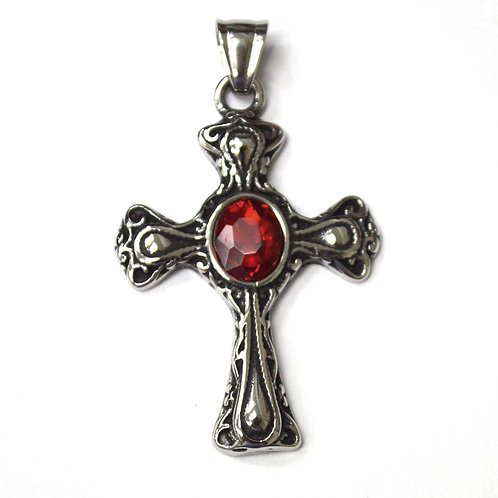 Cross with Red Stone Pendant 86-2383
