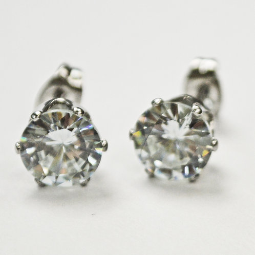 8mm Round CZ Earrings-10 Pairs