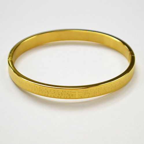 Padre Nuestro Bangle Gold IP Plated 84-1462G