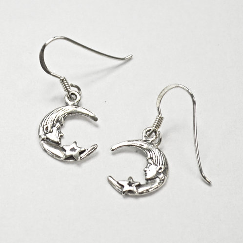 Moon and Star Sterling Silver Earrings 535257